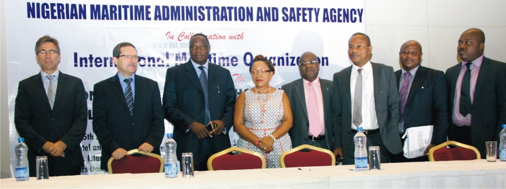 L-R: Capt. Antonio Moreira, Capt. Marin Petrov, Capt. Ezekiel Agaba representing DG of NIMASA, Mrs. Mfon Usoro, Secretary General Abuja MoU, Capt. Ibraheem Olugbade, Nigeria's Alternate Permanent Representative to the IMO, Barr. Callistus Obi, Executive Director, Maritime Labour, NIMASA, Engr. Vincent Udoye, Head Maritime Safety Dept. NIMASA and Capt. Dallas Eric Laryea, IMO Regional Coordinator for West and Central Africa (Anglophone) at a National Workshop on Flag State Implementation and Port State Control organized by NIMASA in collaboration with the IMO in Lagos recently.