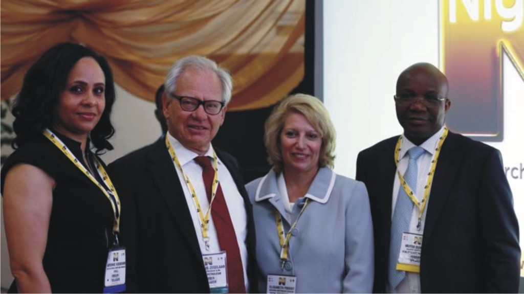 (From L to R) Morenike Adewunmi, Govt. Relations & Compliance Manager, Shell, Cornelius Zegelaar, senior VP & managing director Nigeria of Addax Petroleum, Elizabeth Proust, MD/CEO of Total E & P Nigeria and Mutiu Sunmonu, Country Chair, The Shell Petroleum Development Company pose for pictures at the opening of the Nigeria Oil & Gas 2014 conference in Abuja, recently.