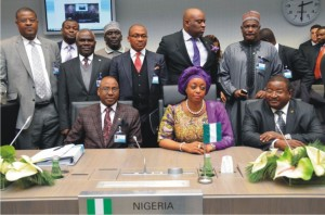 Nigeria Delegation at the 162nd OPEC Conference in Vienna, Austria led by the Minister of Petroleum Resources, Mrs Diezani Allison-Madueke (middle)