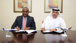 L-R:Chris Ndlulue, Arik Air's Managing Director, and Adnan Kazim, Emirates Divisional Senior Vice President, Planning, Aeropolitical and Industry Affairs, sign the MoU at Emirates Group Headquarters in Dubai
