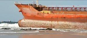 Oil Tanker Stays Aground 3 Weeks On Lagos Beachside