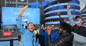 Man City fans gather to celebrate title glory