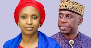 L-R: The suspended Managing Director of Nigerian Ports Authority (NPA) Ms. Hadiza Bala-Usman and the Minister of Transportation, Hon. Rotimi Amaechi.