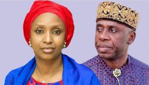 L-R: The suspended Managing Director of Nigerian Ports Authority (NPA) Ms. Hadiza Bala-Usman and the Minister of Transportation, Hon. Rotimi Amaechi.