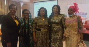 L-R: President, African Women in Maritime (WIMAFRICA), Mrs. Jean-Chiazor Anishere (SAN), CEO, Lelook Nigeria, Mrs. Chinwe Ezenwa, former General Manager at Nigerian Ports Authority (NPA), Mrs. Carol Ufere, President, WISTA Nigeria, Mrs. Eunice Ezeoke and a former Director at Nigerian Maritime Administration and Safety Agency (NIMASA) Hajia Aisha Musa; during WISTA Annual Business Luncheon in Lagos, yesterday.